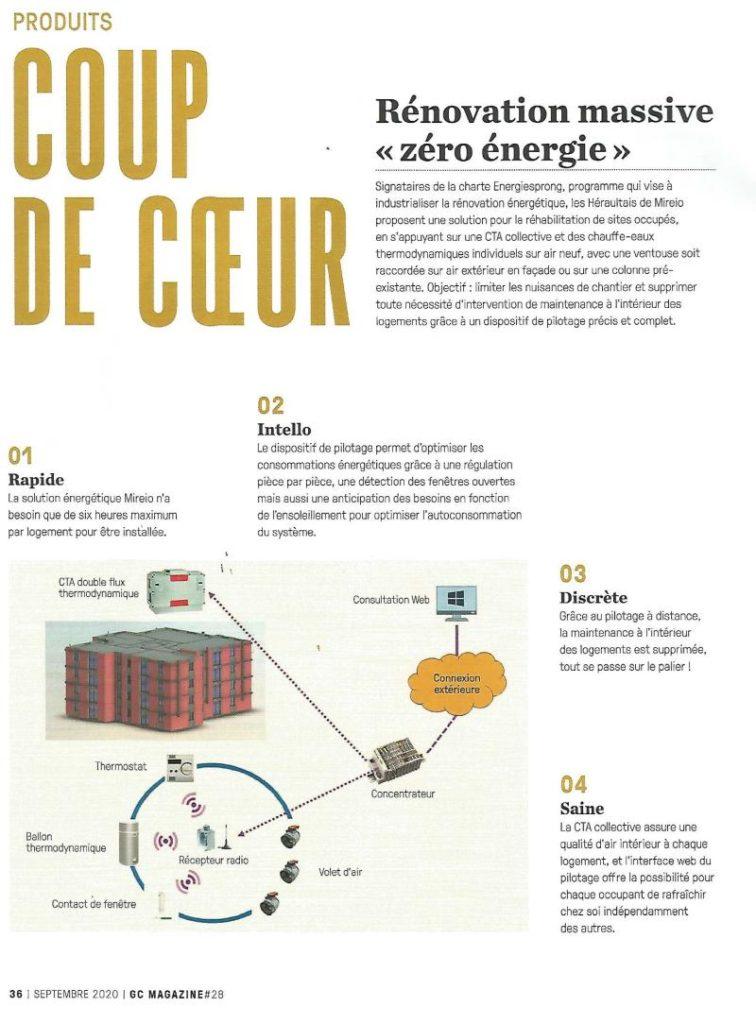 """MIREIO coup de coeur de """"Génie Climatique Magazine"""""""